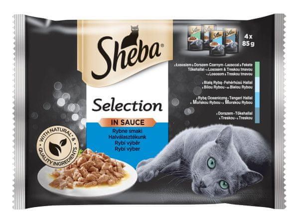 Sheba kapsičky pro kočky rybí výběr ve šťávě 52 x 85 g
