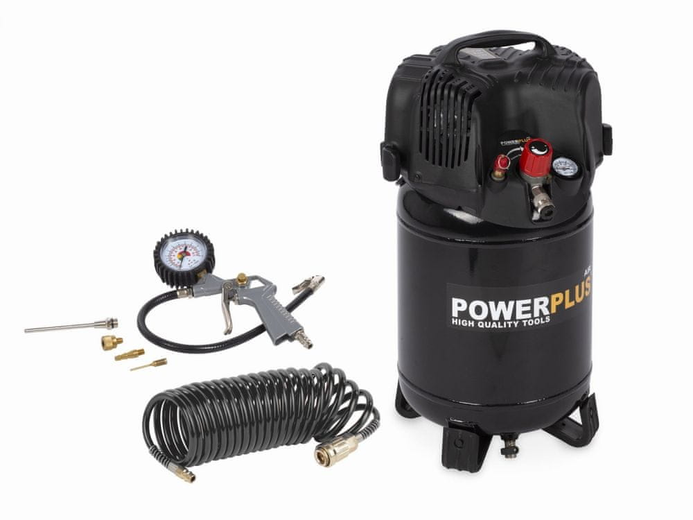 PowerPlus POWX1731 - Kompresor 1100W 24L plus 6 ks přísl. bezolejový