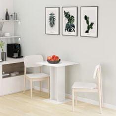 shumee Bistro stôl lesklý biely 60x60x75 cm drevotrieska