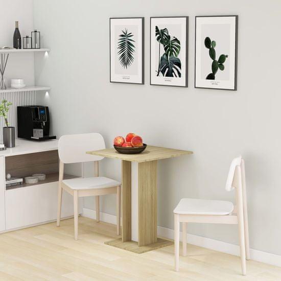Greatstore Bistro mizica bela in sonoma hrast 60x60x75 cm iverna plošča
