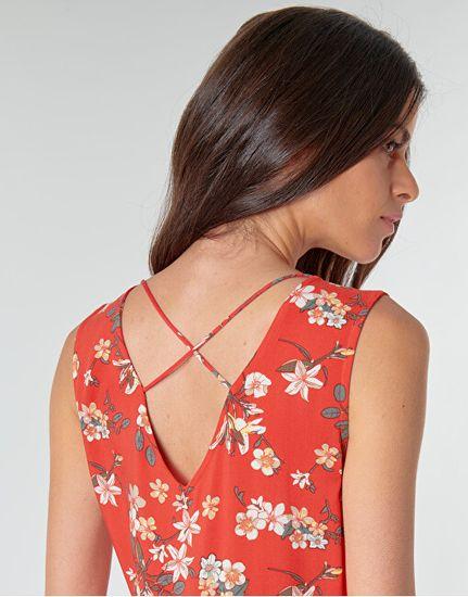 Vero Moda Ženska obleka VMSIMPLY EASY 10227830 Goji Berry JOHANNA