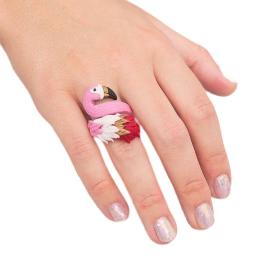 Kraftika Flamingo pierścionek z modeliny zestaw diy rzemiosła
