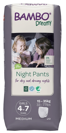 Bambo Nature Night Pants Girl 4-7 god, 10 komada, za 15-35 kg