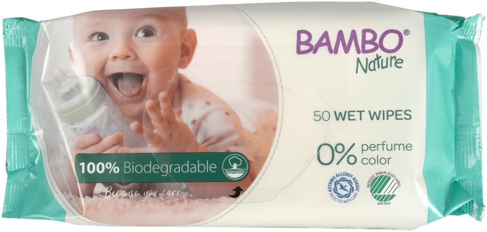 Bambo Nature Biodegradabilní vlhčené ubrousky, 50 ks