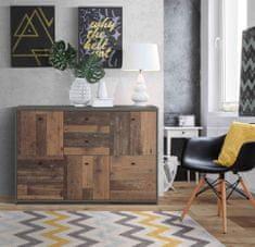 Nejlevnější nábytek Komoda ROEL 5D2S, beton tmavě šedý/ old wood vintage, 5 let záruka