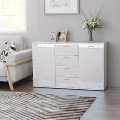Greatstore Komoda, lesklá biela 120x35,5x75 cm, drevotrieska