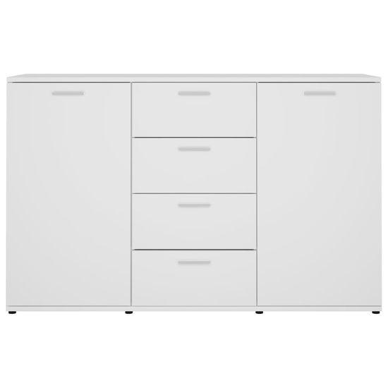 shumee Komoda visok sijaj bela 120x35,5x75 cm iverna plošča