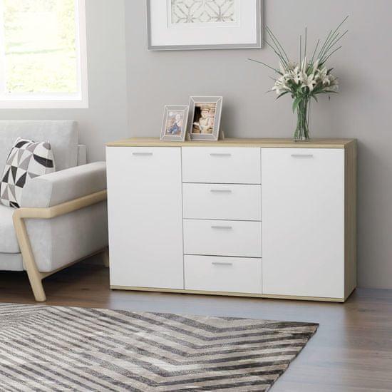 shumee Komoda bela in sonoma hrast 120x35,5x75 cm iverna plošča