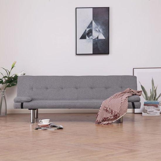 shumee világosszürke poliészter kanapéágy két párnával
