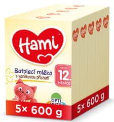 Hami 12+ batolecí mléko s vanilkovou příchutí 5x 600 g