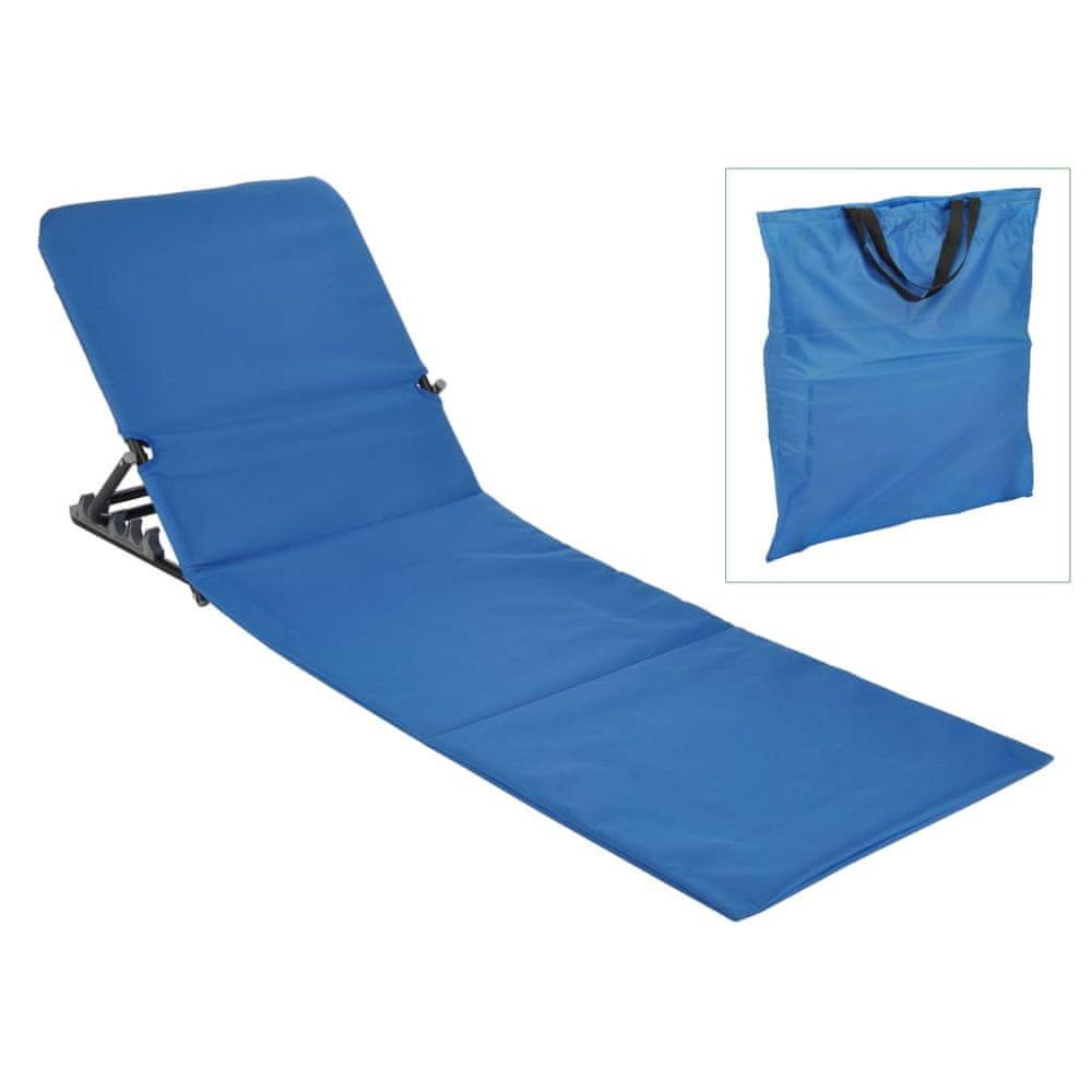 HI Skladacie plážové lehátko modré PVC