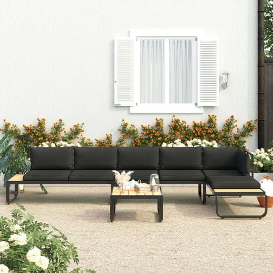Greatstore Vrtna kotna sedežna garnitura 4-delna z blazinami aluminij WPC
