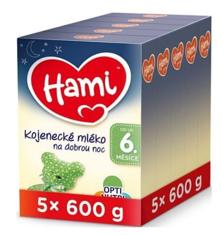 Hami 6+ pokračovací kojenecké mléko na dobrou noc 5x 600 g