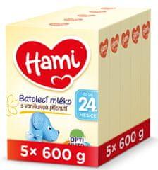 Hami 24+ batolecí mléko s vanilkovou příchutí 5x 600 g