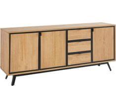Danish Style Komoda Milt, 180 cm, borovica/čierna
