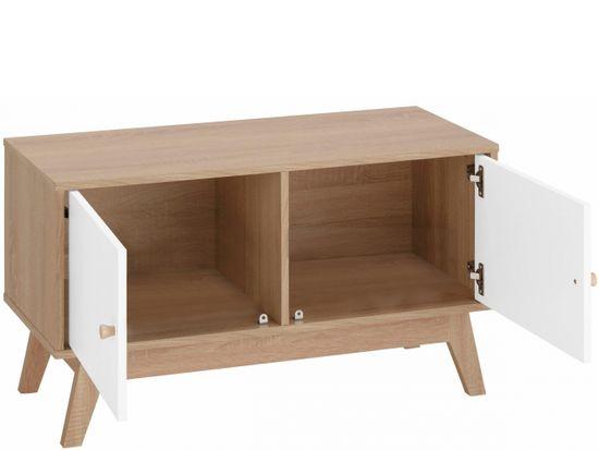 Danish Style Komoda Agat, 90 cm, biela/dub