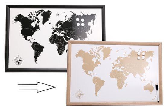 Sifcon Cestovatelská magnetická tabule s popisovačem, 60x40 cm, přírodní