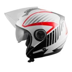 A-Pro Openline Jet kaciga, bijela/crvena, L