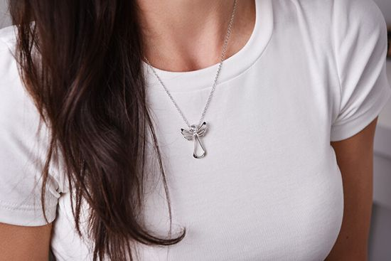 Levien Náhrdelník s čirým krystalem Guardian Angel