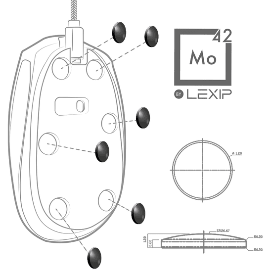 Lexip MO42 set nogu za miš, keramika