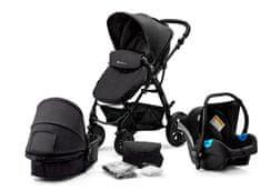 KinderKraft kombinirani otroški voziček 3v1 Moov Black, črn