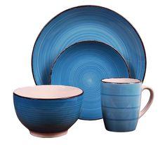 EXCELLENT Jedálenská súprava tanierov VALENCIA kamenina 16 ks modrá