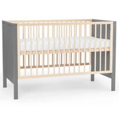 KinderKraft Baby wooden cot MIA guardrail grey