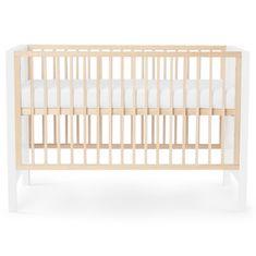 KinderKraft Baby wooden cot MIA guardrail + mattress white