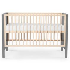 KinderKraft Baby wooden Mia otroška posteljica + vzmetnica, siva