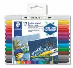 "Staedtler Fix na textil ""Design Journey"", 12 různých barev, oboustranné 3190 TB12"