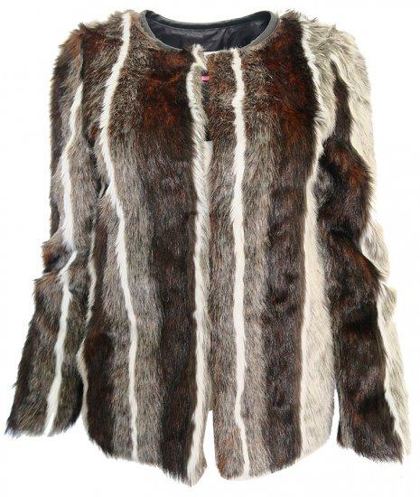NAFNAF Chlpatý kabátik NAF NAF Hnedá 34, Dĺžka: Krátka