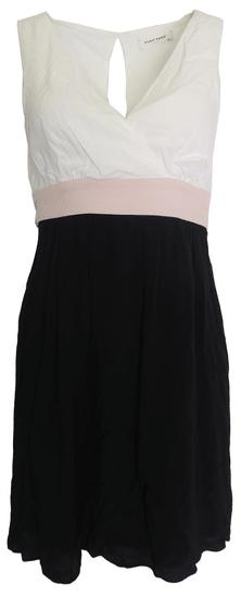 NAFNAF Čiernobiele šaty s ružovým pásom Naf Naf Veľkosť: XS