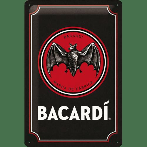 NOSTALGIC-ART metalni znak Bacardi (Black Logo), 20x30 cm