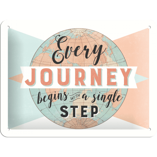Postershop Fém tábla - Every Journey Begins with a Single Step