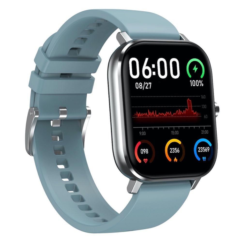 NEOGO DayFit D3, chytré hodinky, stříbrné/modré