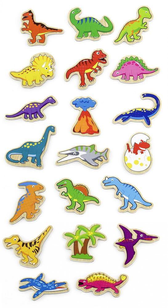 Viga Dřevěné magnety 20 ks dinosauři