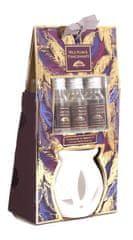 """Sifcon Dárkový set """"PEŘÍČKA""""- aromalampa + 3 ks vonných olejíčků WILD PLUM & POMEGRANATE"""
