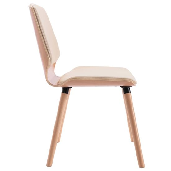 shumee Jedilni stoli 4 kosi krem umetno usnje