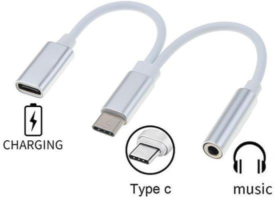 PremiumCord Prevodník USB-C na audio konektor jack 3,5mm female + USB-C na nabíjanie, ku31zvuk02