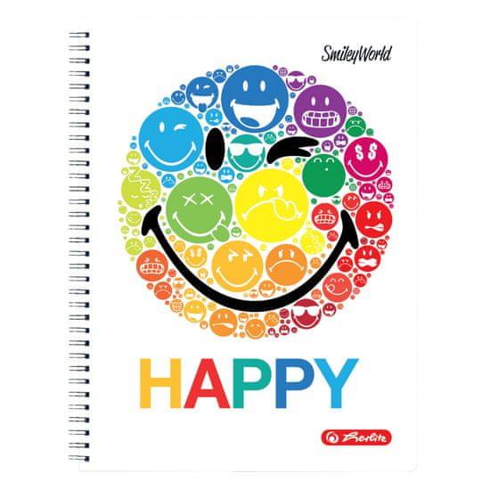 Herlitz Smiley World Rainbow zvezek s spiralo, A4, 80-listni, mali karo