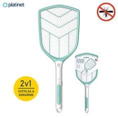 Platinet PRMB3839, 2-v-1 električni lopar za mrčes + LED lučka, vgrajena Li-Ion baterija, zelo zmogljiv