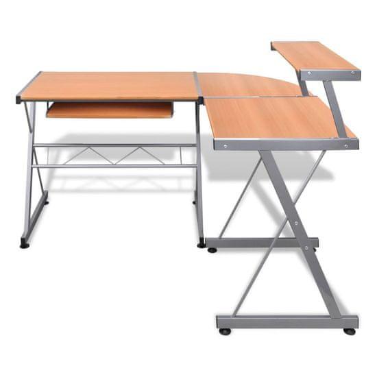 shumee Kotna računalniška miza z izvlečno polico za tipkovnico Rjave barve