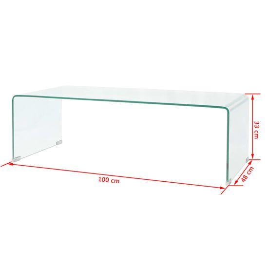 shumee Klubska Mizica iz Kaljenega Stekla 100x48x33 cm Prosojna