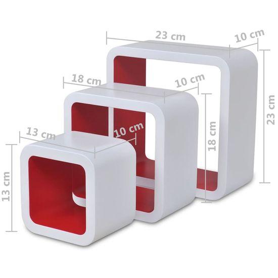 shumee 6 db fehér és piros kocka fali polc