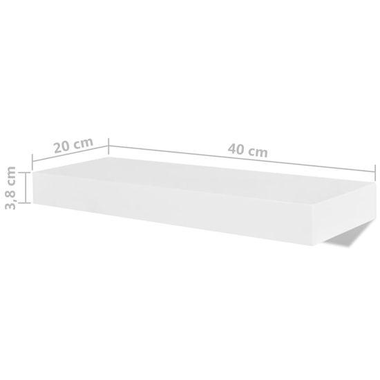 shumee Nástenné poličky 4 ks biele 40 cm
