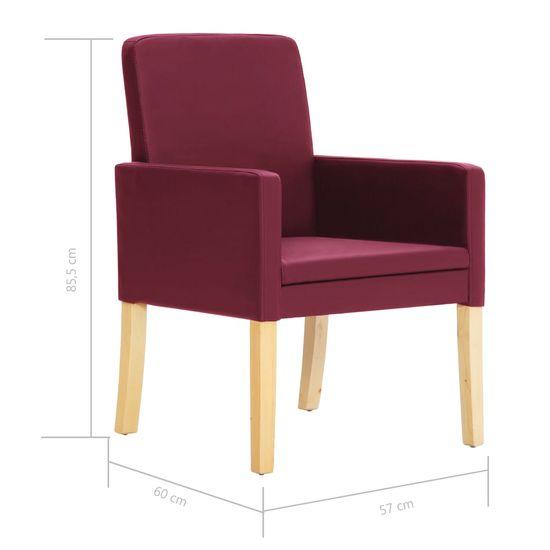 shumee Krzesła do jadalni, 4 szt., czerwone wino, sztuczna skóra