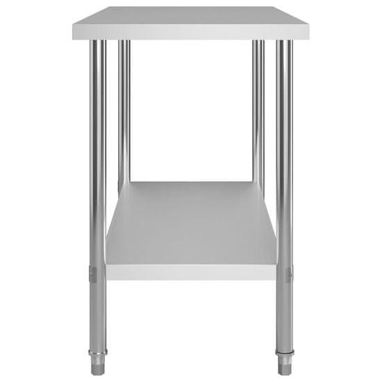 shumee Kuhinjska delovna miza s polico 120x60x120 cm nerjaveče jeklo