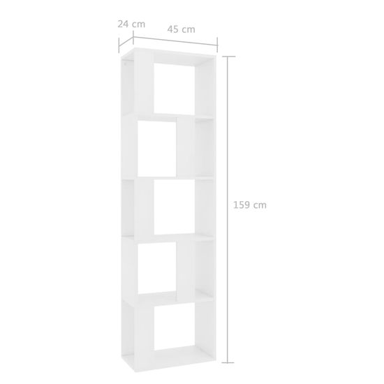 shumee Regał na książki/przegroda, biały, 45x24x159 cm