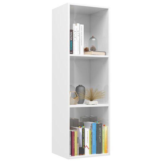 shumee Knjižna / TV omara visok sijaj bela 36x30x114 cm iverna plošča