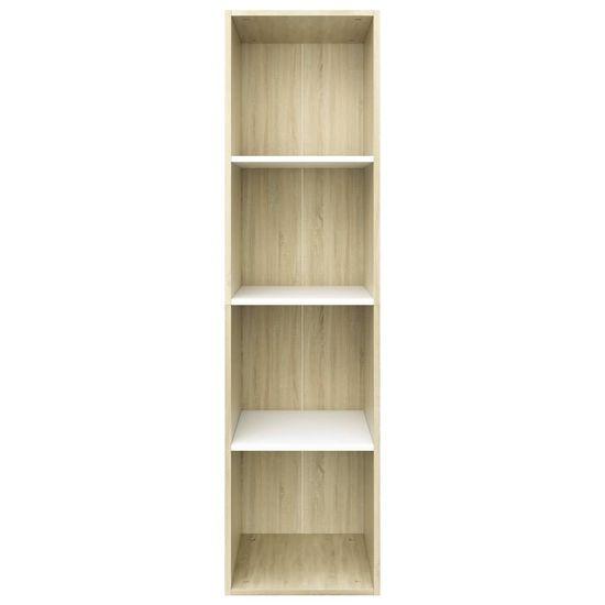 shumee fehér és sonoma-tölgy forgácslap könyv-/TV-szekrény 36x30x143cm